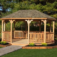 This stylish Cedar Permanent Gazebo without Floor will enhance your outdoor space with a fun and charming look. The posts are sleeved in vinyl for minimal maintenance over many years. The railings have a top T-rail with a buttom rail notched to receive the balusters for easy assembly and a strong, long-lasting railing. At the top of the posts you will find half-moon braces for stability and rigidity. The roof is built with double pine hip rafters and pine tongue and groove roof sheeting and…