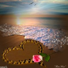 ~*~ I LoveYou! ~*~ Beach frame. So pretty. Love the sunset. From imikimi.com, a…