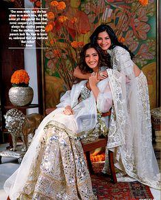 Abu Jani Sandeep Khosla White & Gold Embellished #Lehengas. Hello Magazine November 2015.