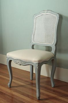 two toned dining chairs. she painted the caning a different color. genius. via:  girls with good taste: twin sisters