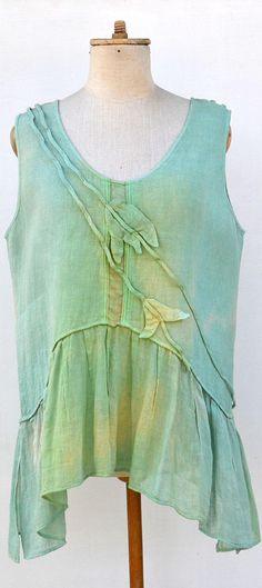 LINEN blouse top M size woman unique fashion design, eco friendly lagenlook hemp flax embroidery art to wear mint ombre linen clothing G3