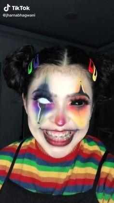 Cute Clown Makeup, Halloween Makeup Clown, Creepy Makeup, Amazing Halloween Makeup, Edgy Makeup, Halloween Eyes, Halloween Makeup Looks, Girl Joker Makeup, Halloween Costumes