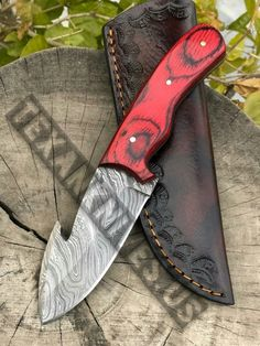 Total length is inches handle made of paaka wood with come to leather sheath Skinning Knife, Damascus Steel, Kitchen Knives, Hunting, Leather, Handmade, Hand Made, Fighter Jets, Handarbeit