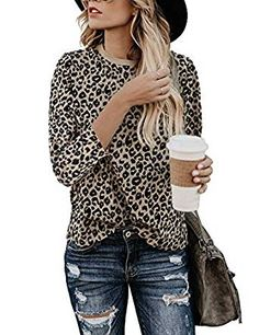 Looking for Women's Casual Cute Blouse Top Leopard Print Basic Long Sleeve Soft Shirt ? Check out our picks for the Women's Casual Cute Blouse Top Leopard Print Basic Long Sleeve Soft Shirt from the popular stores - all in one. Loose Shirts, Casual T Shirts, Cute Shirts, Casual Tops, Casual Clothes, Printed Shirts, Pantalon Long, Leopard Print Top, Leopard Blouse