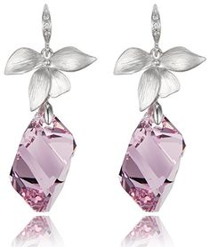 Lily Flower Amethyst Crystal Cube Drop Earrings Swarovski Element Crystals >>> Find out more about the great product at the image link.
