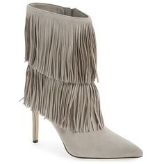 "Sam Edelman 'Belinda' Fringed Suede Pointy Toe Boot, 3 3/4"" heel ($175) ❤ liked on Polyvore featuring shoes, boots, ankle booties, ankle boots, winter sky, sam edelman boots, suede bootie, suede fringe boots, fringe booties and suede boots"