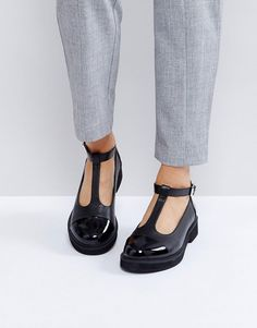 Get this Asos's flat shoes now! Click for more details. Worldwide shipping. ASOS MADISON Chunky Flat Shoes - Black: Flat shoes by ASOS Collection, Faux-leather upper, T-bar design, Pin-buckle fastening, Patent toe cap, Round toe, Chunky flat sole, Wipe with a damp cloth. Score a wardrobe win no matter the dress code with our ASOS Collection own-label collection. From polished prom to the after party, our London-based design team scour the globe to nail your new-season fashion goals with…
