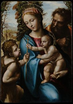 """Giovanni Antonio Bazzi known as """"Sodoma"""" - Holy Family with young Saint John - Google Art Project."""