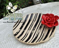 Black and White Red Rose Handbuilt Pottery