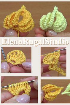 Crochet Leaf was made with yarn: Cotton, Polyacrylic, in 5 ply and crochet hook Crochet Hook size or ( or US standards). Freeform Crochet, Crochet Motif, Crochet Doilies, Crochet Stitches, Crochet Leaf Patterns, Crochet Leaves, Crochet Designs, Crochet Flowers, Crochet Flower Tutorial