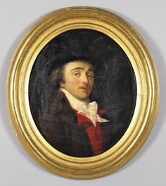 "English school early XIX century ""gentleman with red vest"" oil oval, gilt wood frame contemporary cm. 53x65"