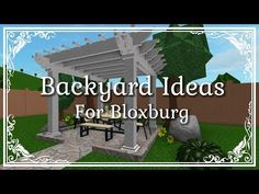 Update is here! The new update consisted of new backyard items, including tables, chairs, pergolas, and fountains too! I made a video listing backyard idea. Small Patio Design, Small House Design, Back Gardens, Outdoor Gardens, Dyi, Modern Backyard, Backyard Ideas, Garden Ideas, Backyard Landscaping