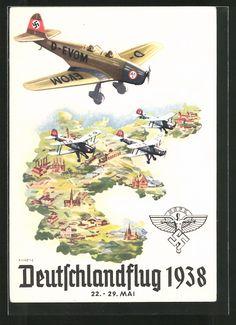 old postcard: Künstler-AK Deutschlandflug 1938, Flugzeuge des NSFK, Großdeutschland