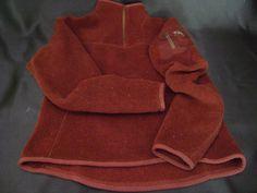 Arc'treyx Womens Burgundy Pullover 1/4 Zip Fleece Long Sleeve Size S 4-6 89 CM #Arcteryx #FleeceJacket