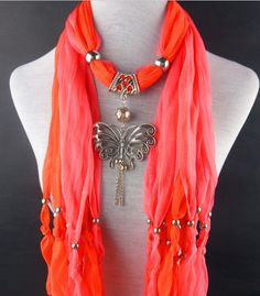 Two Colors Scarves with Silver Butterfly http://jewelryscarfcanada.com/