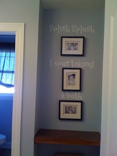 Splash splash taking a bath  saying on the wall with photos of the kids in the tub, wall decor for bathroom area