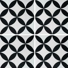 Black and white art deco cement tiles Trame Circulaire. Pattern makes circles and four pointed stars Marble Stones, Stone Tiles, Clay Roof Tiles, Cement Tiles, Paint Concrete, Concrete Patio, White Art, Black And White, Black Plaid