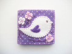 Purple Needle Book with White Folk Art by HandcraftedorVintage, $22.00