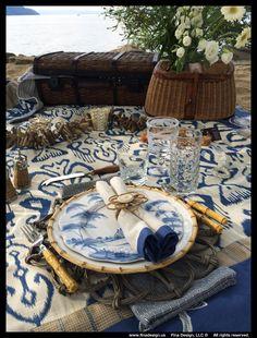 """Beautifully """"Coastal Blues"""" picnic styled by Barbara Fina of Fina Design"""