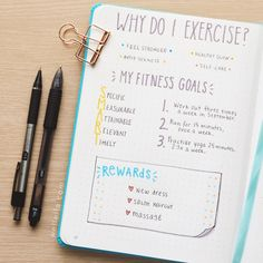 Bujo - Fitness Bullet Journal Page Ideas To Help You Track Your Exercise Goals In 2020 - Did you know that bullet journaling can help you keep your fitness goals? I started using my bullet - Bullet Journal For Weight Loss, Bullet Journal Health, Bullet Journal Notebook, Bullet Journal Aesthetic, Bullet Journal Inspo, Bullet Journal Ideas Pages, Journal Pages, Bullet Journal Goals Page, Life Journal