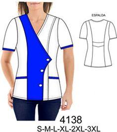 Delantales Beauty Uniforms, Corporate Uniforms, Scrubs Uniform, Nurse Costume, Fashion Design Sketches, Mode Hijab, Diy Clothing, Plus Size, Blouse