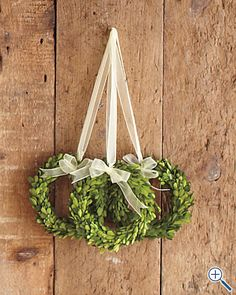 trio of boxwood wreaths. Maybe in the bathroom downstairs.