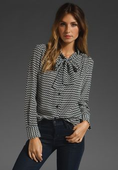 TRINA TURK Francoise Zig Zag Print Blouse in Black at Revolve Clothing - Free Shipping!