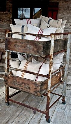 Grain sack pillows on the front porch swing?! ;-) Grain sack everything. Want a quick way to get a really impactful, rustic tone in your space? Add grain sack. This could be a pillow, hand towels, lamp shades a table runner or just the iconic fabric. The grain sack could be antique or reproduction. The look is still there no matter what. You can…