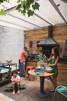 Small Backyard Gardens, Backyard Garden Design, Patio Design, Backyard Kitchen, Outdoor Kitchen Design, Backyard Patio, Outdoor Rooms, Outdoor Living, Outdoor Sheds