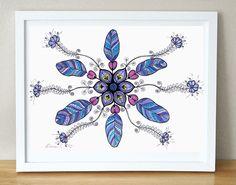 OOAK Purple Blue Feathers, Christmas Gift Idea, Original Mandala Drawing, Feather illustration https://www.etsy.com/listing/201123490/ooak-purple-blue-feathers-christmas-gift?ref=shop_home_active_5