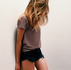 Loose shirt and black denim shorts