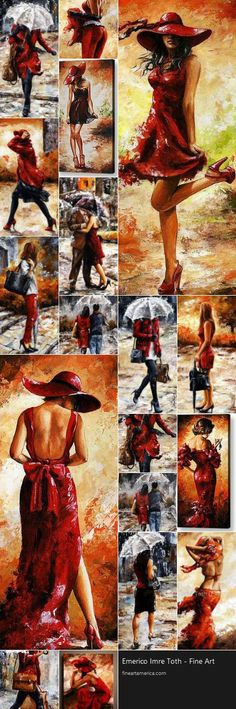 Series 'Ladies In Red' by Emerico Imre Tóth, is an Hungarian painter. Compare ~ Andre Kohn + Emerico Imre Tóth... *Интересно, они работают параллельно или всё же тут плагиат?