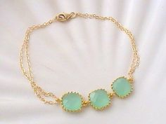 Mint Green Dainty Bracelet - Mint Wedding by Crystalshadow