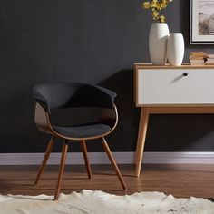 Corvus Walnut and Black Mid Century Bentwood Accent Chair | Overstock.com Shopping - The Best Deals on Living Room Chairs