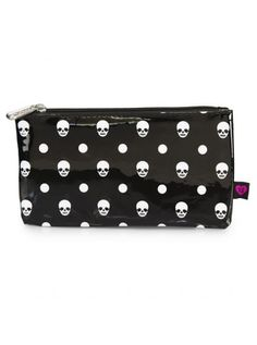 """Skull and Polka Dot"" Pencil Case by Loungefly (Black/White) #InkedShop #pencilcase #bag #skulls"