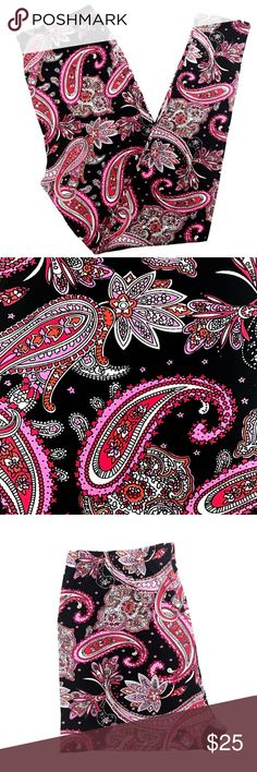 Buttery Soft Pink Red Paisley Floral Leggings OS BUTTERY SOFT GORGEOUS PAISLEY FLORAL LEGGINGS  