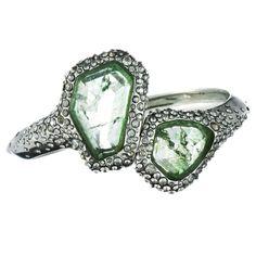 Crystal Encrusted Rhodium Small Imi. Sage Qtz Bracelet::Bracelets::Miss Havisham::Collections::Alexis Bittar