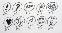 Sarjakuva - merkkejä, symboleita (taustaa).