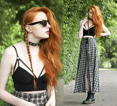 Choies Sunglasses, Regalrose Aeon Hair Rings, Evil Twin Girl Interrupted Bralet, Minkpink Buttoned Maxi Skirt, Dr. Martens Boots - Aeon. - O...