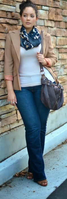 Stunning Jacket Scarf and casual outfit for plus size