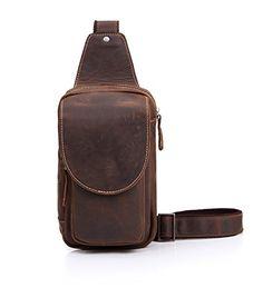 Geremen Genuine Cow Leather Sport Hiking Travel Cross Chest Shoulder Daypack Sling Bag S8067 Brown *** Click image for more details.