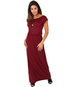 65dfbf3db1 KRISP Womens Casual Basic Maxi Elastic Stretch Solid Jersey Comfy Summer  Dress