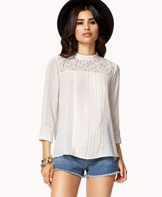 Lace-Trimmed Pleated Georgette Top | LOVE21 - 2036244351