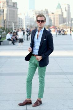 Add some colour with coloured chinos. Pair them back with classic colours like navy and you are onto a winner.