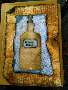 Male Birthday card...apocathary bottle die from Tim Holtz