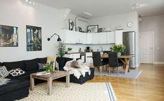 Living room with open kitchen Small Apartments, Small Spaces, Cute Apartment, Studio Apartment, Gravity Home, Deco Addict, Attic Design, Scandinavian Interior Design, Living Room Inspiration