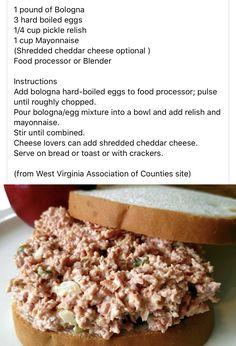 Ham Salad Recipes, Cereal Recipes, Snack Recipes, Cooking Recipes, Snacks, Cooking Time, Bologna Salad, Bologna Sandwich, Homemade Bologna