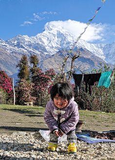 Gurung little kid in Tadapani village, Annapurna region, Nepal.