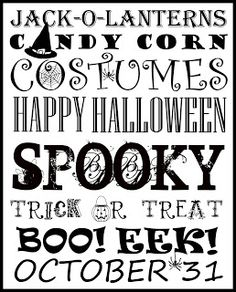 Free Halloween Subway Art Printable from Inspiration for Moms