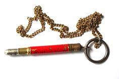 Vintage Industrial Pencil Charm Necklace